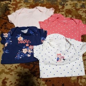 4 short sleeve newborn onsies